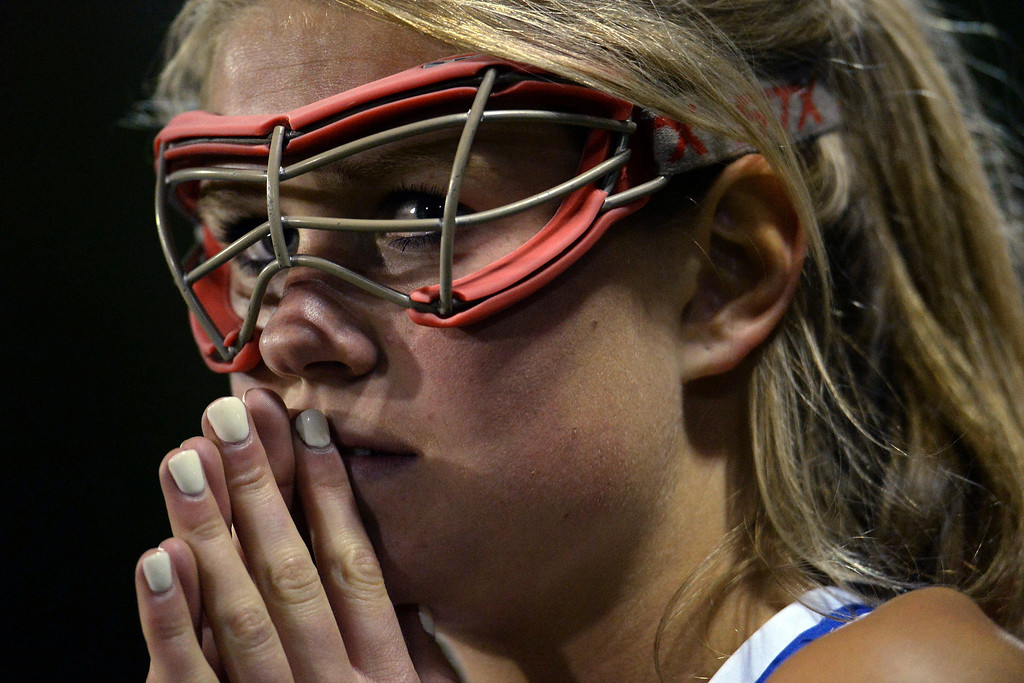 . Amy Heider (10) of the Cherry Creek Bruins watches as the Air Academy Kadets get possession with just seconds to play during Academy\'s 11-10 girls 5A championship game win. (Photo by AAron Ontiveroz/The Denver Post)