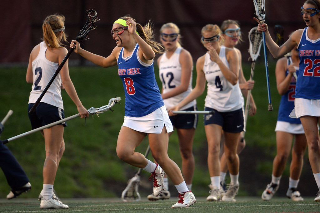 . Colby Goettelman (8) of the Cherry Creek Bruins celebrates a first half goal against the Air Academy Kadets during Academy\'s 11-10 girls 5A championship game win. (Photo by AAron Ontiveroz/The Denver Post)