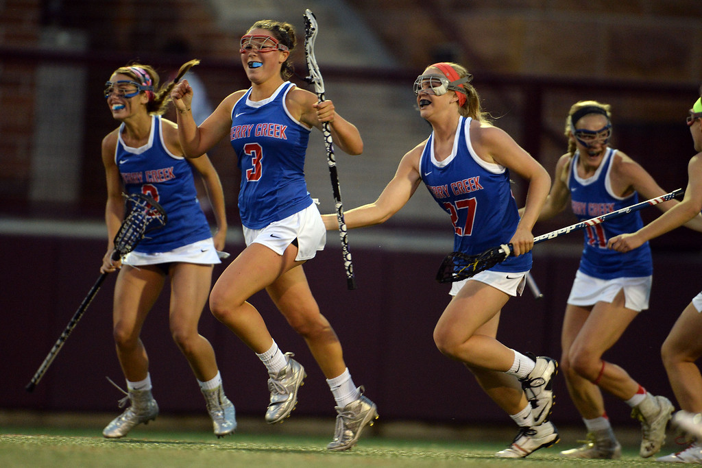 . Olivia List (3) of the Cherry Creek Bruins celebrates a second half goal against the Air Academy Kadets during Academy\'s 11-10 girls 5A championship game win. (Photo by AAron Ontiveroz/The Denver Post)