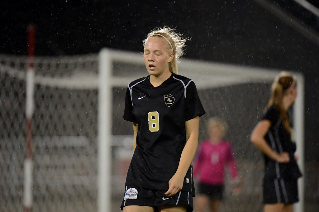. Makayla McBride of Rock Canyon High School (8) takes a breather during the 5A girls soccer championship game against Mountain Vista at Dick\'s Sporting Goods Park. (Photo By Hyoung Chang/The Denver Post)