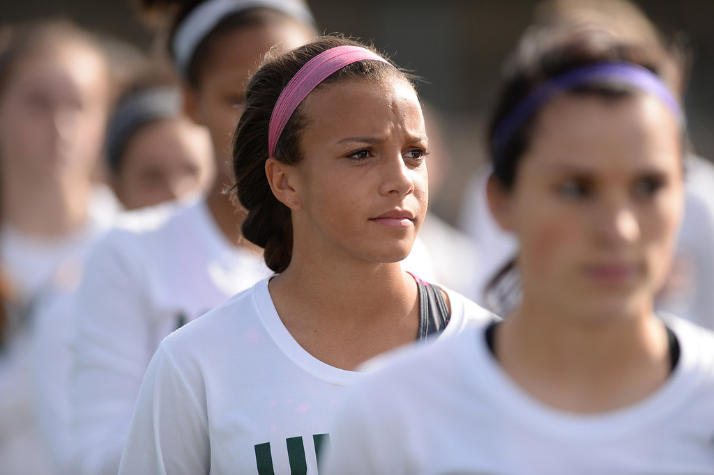 . Mallory Pugh of  Mountain Vista High School (9) after a game against Arapahoe High School at Shea Stadium in Highlands Ranch, Colorado on March 29, 2014. Mountain Vista won, 5-4. (Photo by Hyoung Chang/The Denver Post)