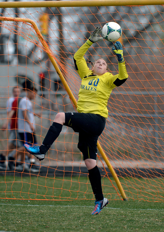 . THORNTON, CO - APRIL 10:  Englewood goalkeeper Miranda Holman (00) made a save in the first half. The Englewood High School girl\'s soccer team defeated Skyview 1-0 in a 4A matchup Thursday afternoon, April 10, 2014. (Photo by Karl Gehring/The Denver Post)