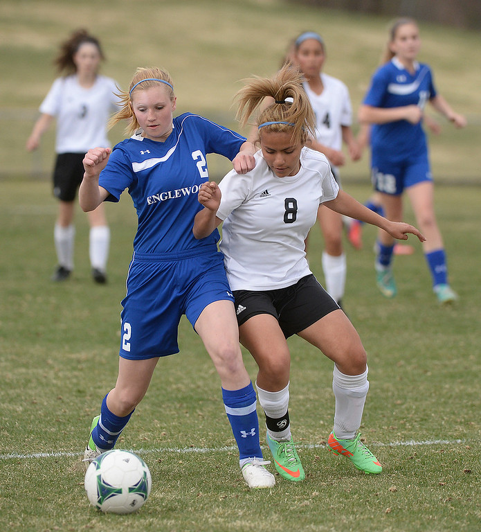 . THORNTON, CO - APRIL 10:  Englewood forward Karin Bader (2) vied for the ball with Skyview defender Lucero Rivas (8) in the second half. The Englewood High School girl\'s soccer team defeated Skyview 1-0 in a 4A matchup Thursday afternoon, April 10, 2014. (Photo by Karl Gehring/The Denver Post)