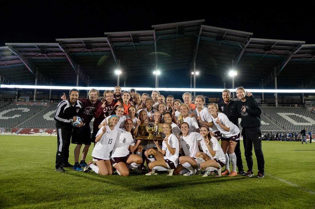 . Cheyenne Mountain pose for a team photo after their victory over Broomfield 2-0 for the  4A girls State Soccer Championship May 21, 2014 at Dick\'s Sporting Goods Park. (Photo by John Leyba/The Denver Post)
