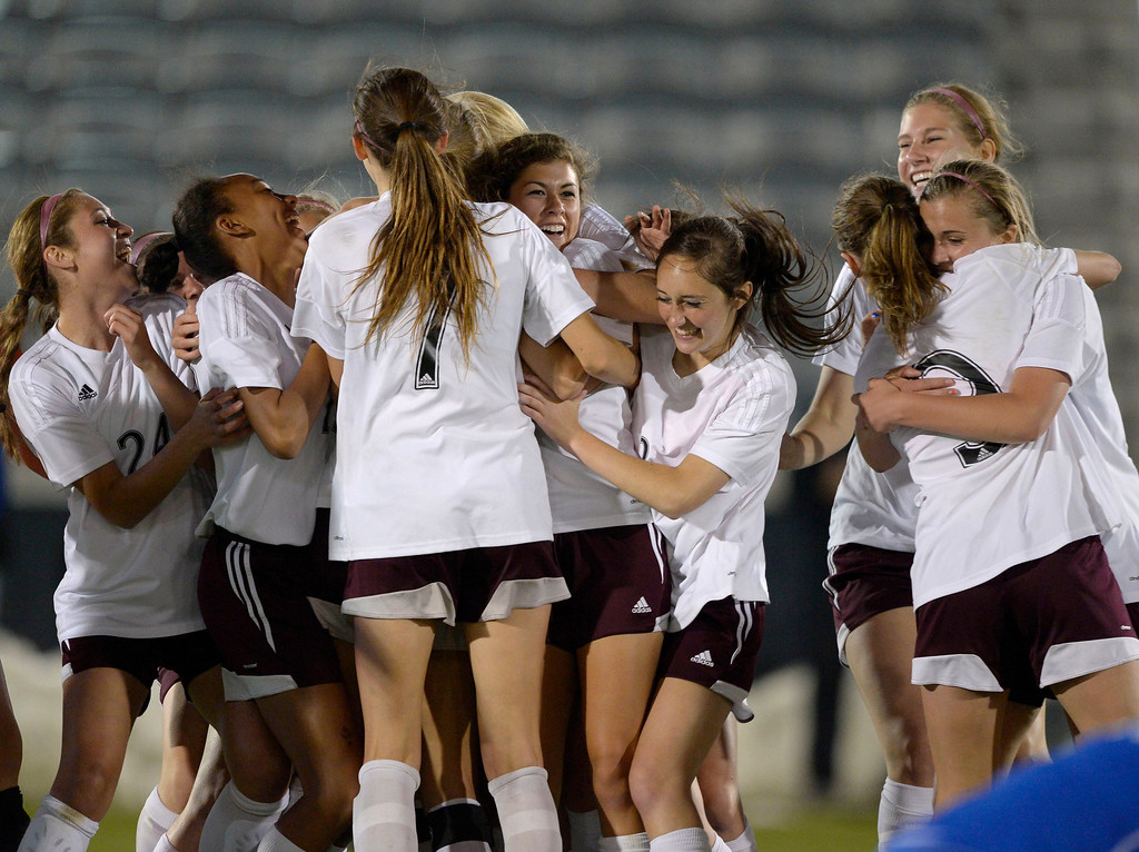 . Cheyenne Mountain celebrate their win over Broomfield 2-0 to capture the  4A girls State Soccer Championship May 21, 2014 at Dick\'s Sporting Goods Park. (Photo by John Leyba/The Denver Post)