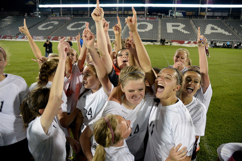 . Cheyenne Mountain celebrates their victory over Broomfield 2-0 for the  4A girls State Soccer Championship May 21, 2014 at Dick\'s Sporting Goods Park. (Photo by John Leyba/The Denver Post)