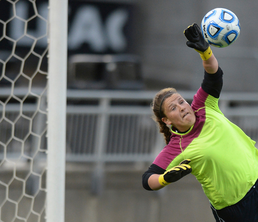 . Mustangs\' goalkeeper Renee Roemer made a save in the second half. The Columbine High School girl\'s soccer team defeated Ralston Valley 3-1 in the 5A championship game Thursday night, May 22, 2014.  (Photo by Karl Gehring/The Denver Post)