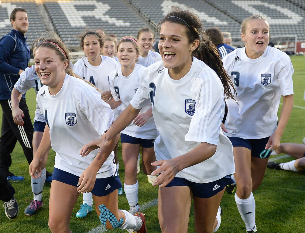 . The Columbine High School girl\'s soccer team defeated Ralston Valley 3-1 in the 5A championship game Thursday night, May 22, 2014.  (Photo by Karl Gehring/The Denver Post)