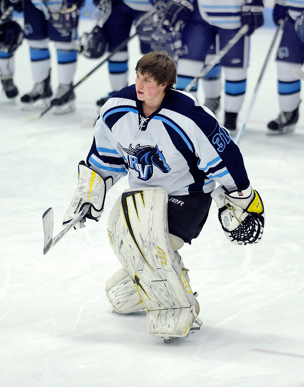 . Zack LaRocque returns this year as the starting net minder. The defending state champion hockey team from Ralston Valley High School took on Standley Lake Tuesday night, December 17, 2013. Photo By Karl Gehring/The Denver Post
