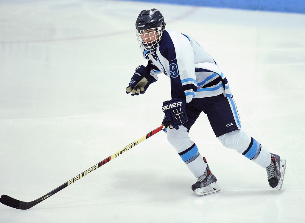 . Ralston Valley forward Lincoln Smith skated in the third period.  The defending state champion hockey team from Ralston Valley High School took on Standley Lake Tuesday night, December 17, 2013. Photo By Karl Gehring/The Denver Post