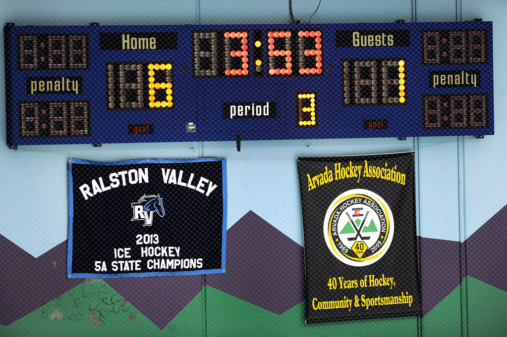 . Ralston Valley unveiled the championship banner from last year before the game.  The defending state champion 5A hockey team from Ralston Valley High School skated past Standley Lake 6-1 Tuesday night, December 17, 2013. Photo By Karl Gehring/The Denver Post