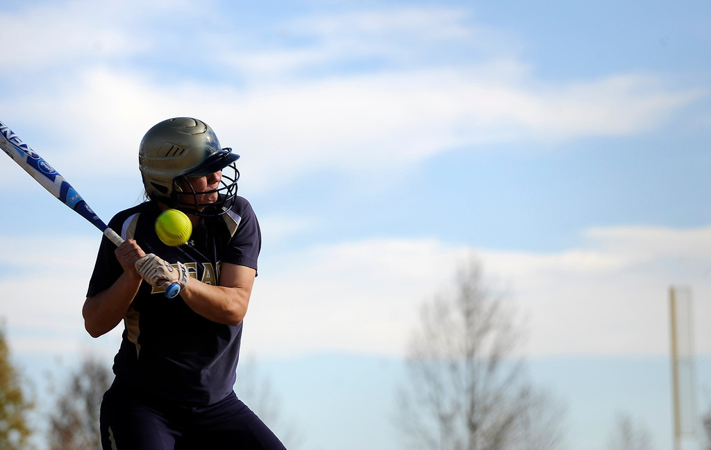 . AURORA CO: Oct. 19, 2013  A legacy High School player flinches as she is nearly hit by the ball. The 5A softball quarterfinals were held at the Aurora Sports Park on Oct. 19, 2013.   (Photo By Erin Hull/The Denver Post)
