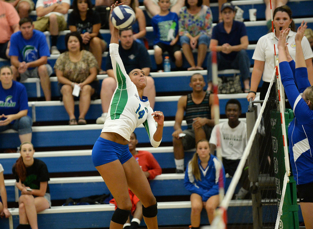 . COLORADO SPRINGS, CO - August 31 : Haleigh Washington of Doherty High School (14) controls the ball against Grandview High School defense at Doherty High School Gym. Colorado Springs, Colorado. August 31, 2013. Doherty won 3-2. (Photo by Hyoung Chang/The Denver Post)