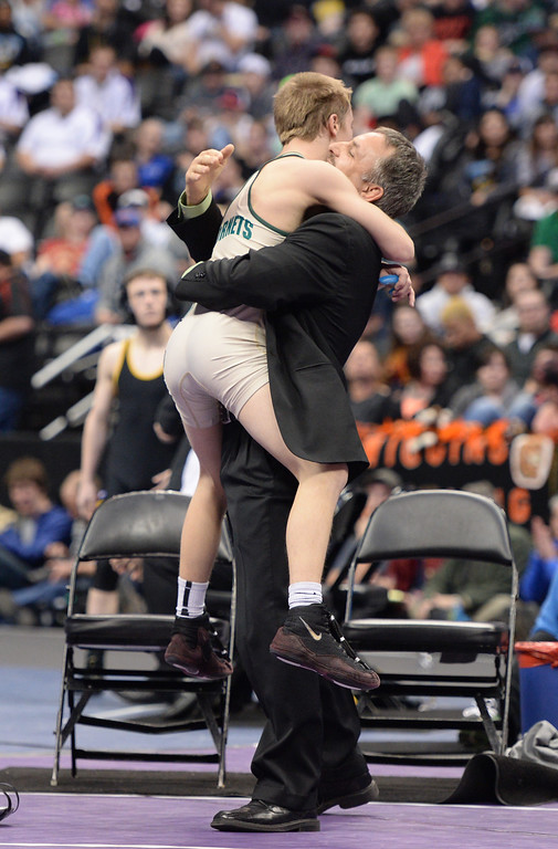 . DENVER, CO - FEBRUARY 22: Grant Willits wins his 4A 106lb. championship match.  The Colorado Wrestling Tournament was held at the Pepsi Center in Denver, Colo. on February 22, 2014. (Photo by Hyoung Chang/The Denver Post)