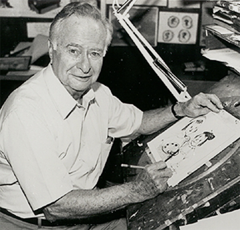 . In this undated photo released by the American Royal Arts Corporation, Animator Myron Waldman sits at his easel. Waldman, who was instrumental in the animation of Betty Boop, Popeye, Casper, Raggedy Ann and Andy, and the original Superman cartoon series, died Saturday, Feb. 4, 2006 of congestive heart failure. He was 97.    (AP Photo/American Royal Arts Corporation)
