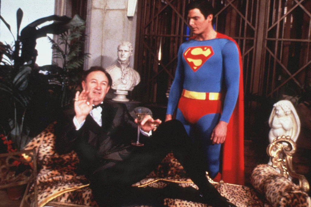 ". This undated photo, released by Warner Bros., shows Oscar-winning actor Gene Hackman, left, and Christopher Reeve, in a scene from ""Superman IV: The Quest for Peace.\"" (AP Photo, Warner Bros.)"