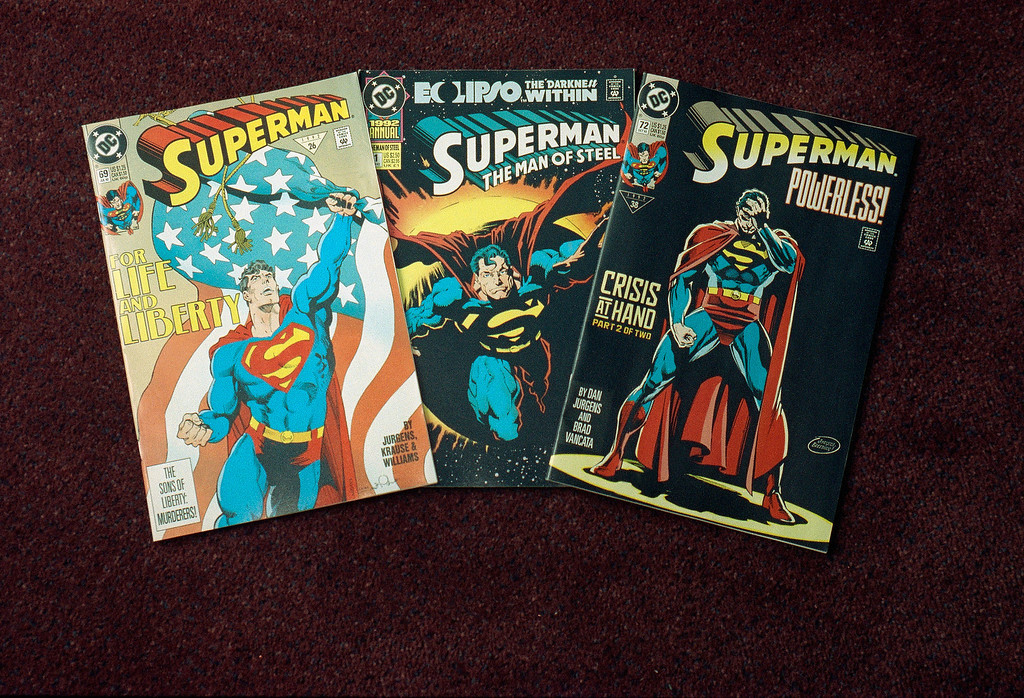 ". A representative of DC comics confirmed Friday that Superman, the superhero character shown in these issues of the popular ""Superman\"" comic book, is headed for the superhero hereafter. Clark Kent \'s alter ego, who has fought for truth, justice, and the American way since 1938 will reportedly meet a fatal foe in the Nov 18, 1992 issue. (AP Photo/ Ed Bailey)"