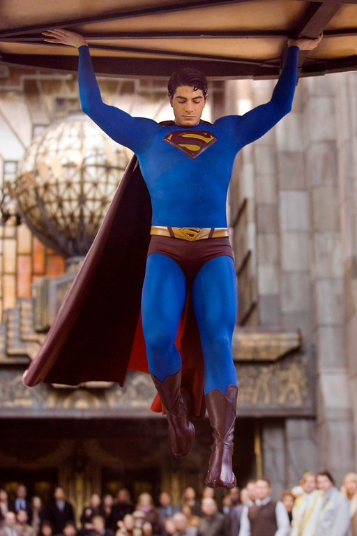 ". In this photo released by Warner Bros. Entertainment, actor Brandon Routh as Superman appears in a scene from ""Superman Returns.\"" Some people are seeing Superman as a Christ-like figure in the film, whose hero returns from a deathlike absence to play savior to the world. (AP Photo/Warner Bros. Entertainment, David James)"