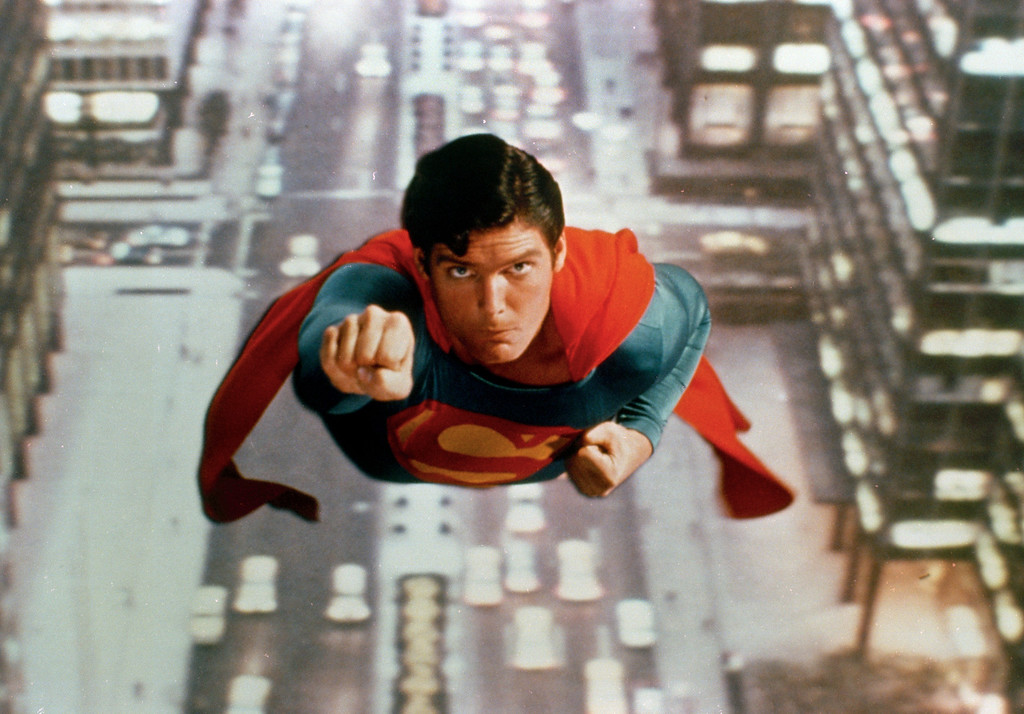 ". Actor Christopher Reeve is shown as the action-hero Superman in the 1981 sequel ""Superman II.\""  (AP Photo)"