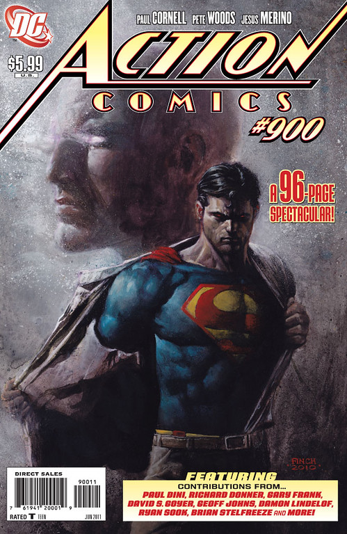 . In this comic book file image originally released by DC Comics, Superman is shown in the latest of issue of Action Comics No. 900,  where he renounces his U.S. citizenship because of his concerns that his actions are seen as instruments of U.S. foreign policy. DC Comics says the story reflects the global nature of the famous Kryptonian and that he remains committed to his adopted home and roots as a Kansas farm boy from Smallville. (AP Photo/DC Comics)
