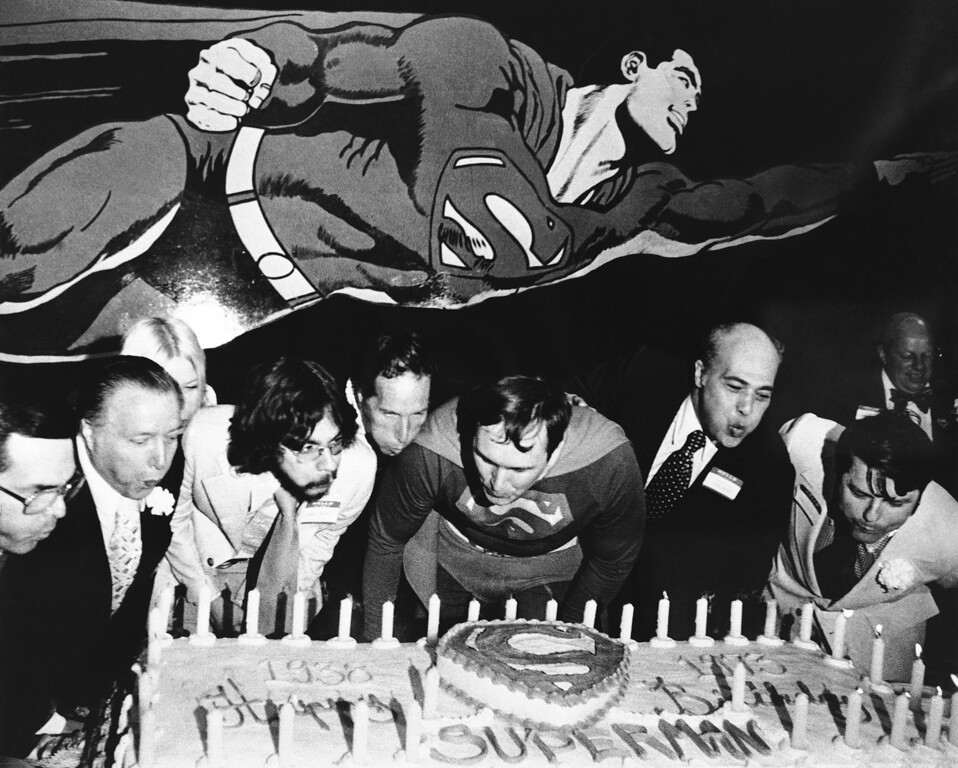 . Superman, the man of steel and super breath, turned 35. Comic book dignitaries gathered at the Amazing World of Superman Exhibition center had to help him blow out the candles on his birthday cake on May 26, 1973 in Metropolis, Illinois. Metropolis, a small Southern Illinois town along the Ohio River, has been promoting itself as Superman\'s hometown. (AP Photo/JPF)