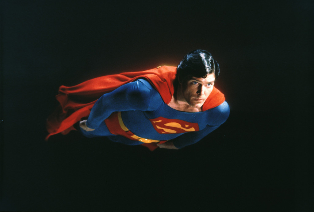 ". Actor Christopher Reeve is shown as the action-hero Superman in the 1981 movie ""Superman II.\""  (AP Photo)"
