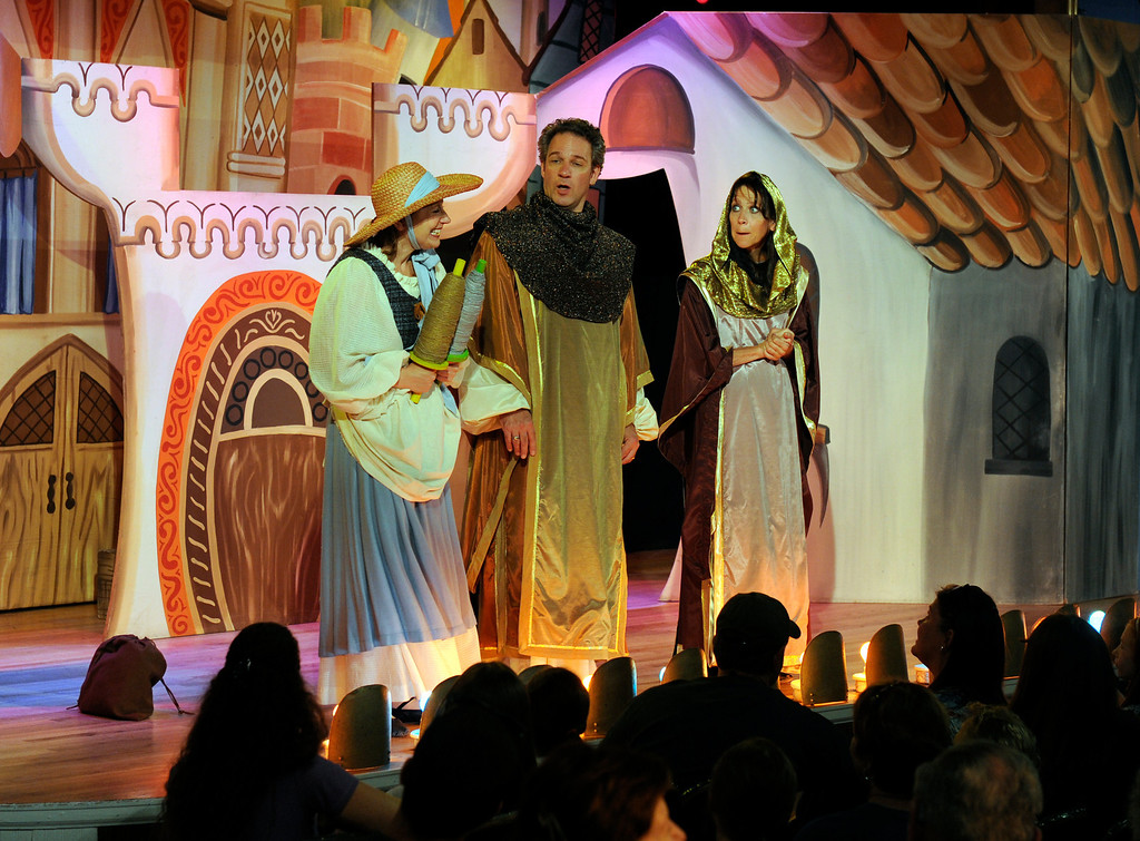 """. GOLDEN, CO - Aug. 31: The actors at The Heritage Square Music Hall, including Johnette Toye, left, Rory Pierce, and Annie Dwyer, right, host their last performance of \""""The Emperor\'s New Clothes\"""" in the Children\'s Theatre. The theatre company, which has held performances for the past 25 years (22 for the children\'s theatre) plans to close its doors for good with a final performance on Dec. 31. 2013. \""""Sweeney Todd: The Demon Barber of Fleet Street\"""" runs in the evening dinner theatre through Nov. 10, and one more Children\'s Theatre show, \""""Santa Needs a Holiday\"""", will begin Nov. 16, 2013. (Photo By Kathryn Scott Osler/The Denver Post)"""