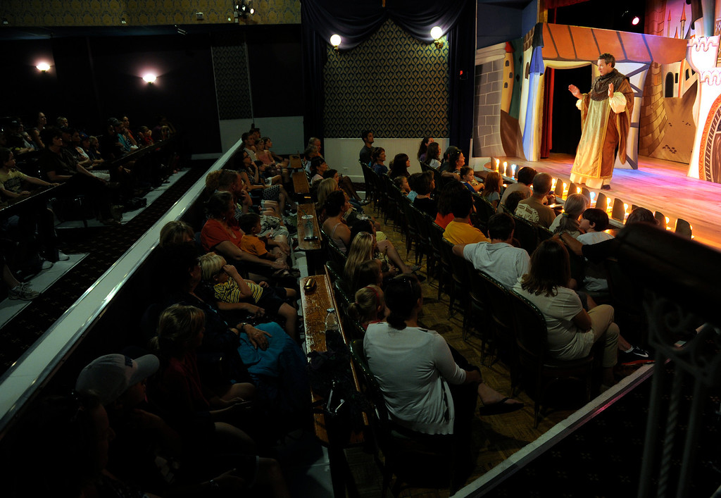 """. GOLDEN, CO - Aug. 31: The actors at The Heritage Square Music Hall host their last performance of \""""The Emperor\'s New Clothes\"""" in the Children\'s Theatre. The theatre company, which has held performances for the past 25 years (22 for the children\'s theatre) plans to close its doors for good with a final performance on Dec. 31. 2013. \""""Sweeney Todd: The Demon Barber of Fleet Street\"""" runs in the evening dinner theatre through Nov. 10, and one more Children\'s Theatre show, \""""Santa Needs a Holiday\"""", will begin Nov. 16, 2013. (Photo By Kathryn Scott Osler/The Denver Post)"""