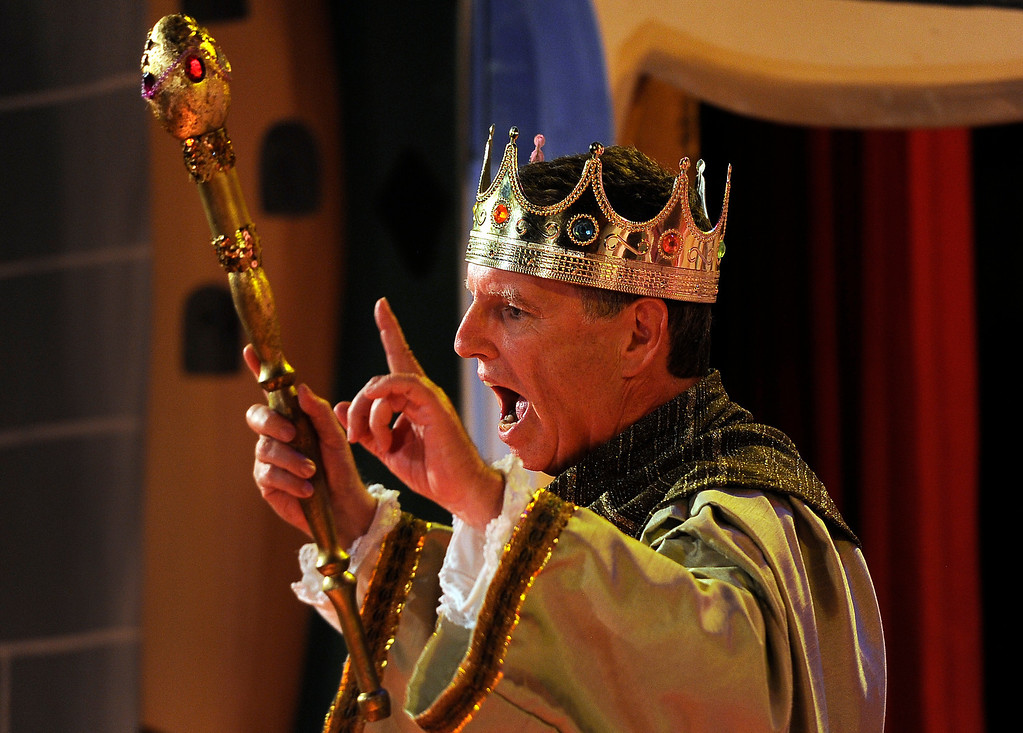 """. GOLDEN, CO - Aug. 31: T.J. Mullin, who has been at the theatre since it opened, plays the \""""Emperor Thomasinian Jamesonius Mullinium.\"""" The actors at The Heritage Square Music Hall host their last performance of \""""The Emperor\'s New Clothes\"""" in the Children\'s Theatre. The theatre company, which has held performances for the past 25 years (22 for the children\'s theatre) plans to close its doors for good with a final performance on Dec. 31. 2013. \""""Sweeney Todd: The Demon Barber of Fleet Street\"""" runs in the evening dinner theatre through Nov. 10, and one more Children\'s Theatre show, \""""Santa Needs a Holiday\"""", will begin Nov. 16, 2013. (Photo By Kathryn Scott Osler/The Denver Post)"""