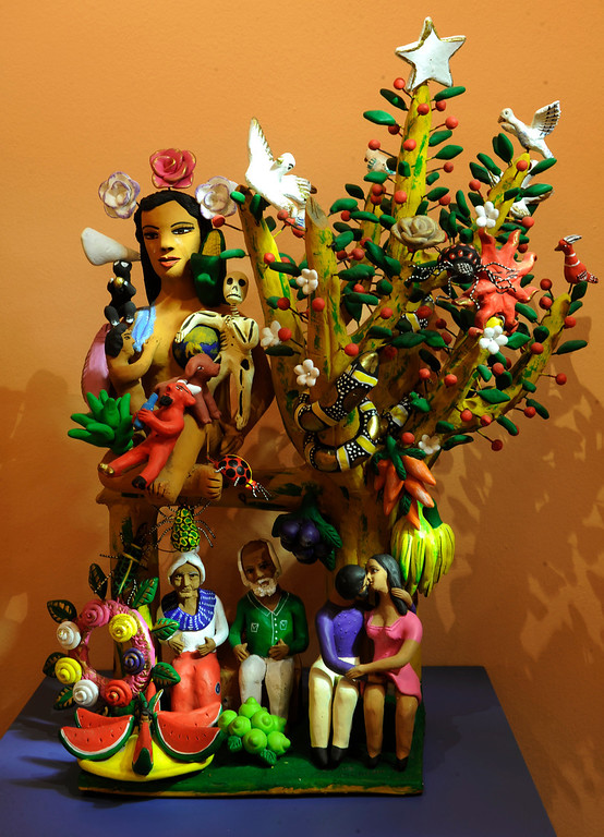 ". Artwork ""Tree of Life\"" by Oaxacan artist Irene Aguilar on display at the new exhibit \""La Cocina\"" at the Museo de las Americas on Tuesday, October 8, 2013. The exhibit opens October 17th. (Photo By Cyrus McCrimmon/ The Denver Post )"