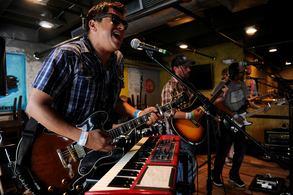. Evan Semon of Bear Antler performs at the Illegal Pete\'s during the Underground Music Showcase on July 27, 2014 in Denver, Colorado. (Photo by Seth McConnell/The Denver Post)