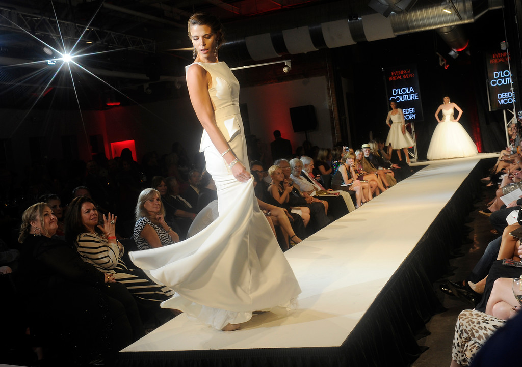 . DENVER, CO - SEPTEMBER 6:  The  bridal creations of Deedee Vicory at D\'Lola Couture which was a finalist at the Fashion Group International of Denver\'s Rising Star 2013 fashion show on Friday September 6, 2013  at the McNichols Building in Denver. (Photo By Cyrus McCrimmon/The Denver Post )