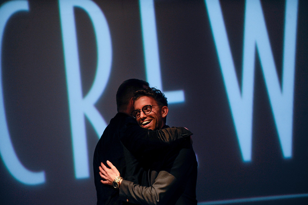 . Hairstylist Jacob Rozenberg smiles onstage after winning the Canadian All-Star Challenge. A fashion show was held at Infinity Park Events Center in Denver, CO on Nov. 3, 2013 for the American Crew man\'s debut of their 2014 collection: The Independent. (Photo By Erin Hull/The Denver Post)
