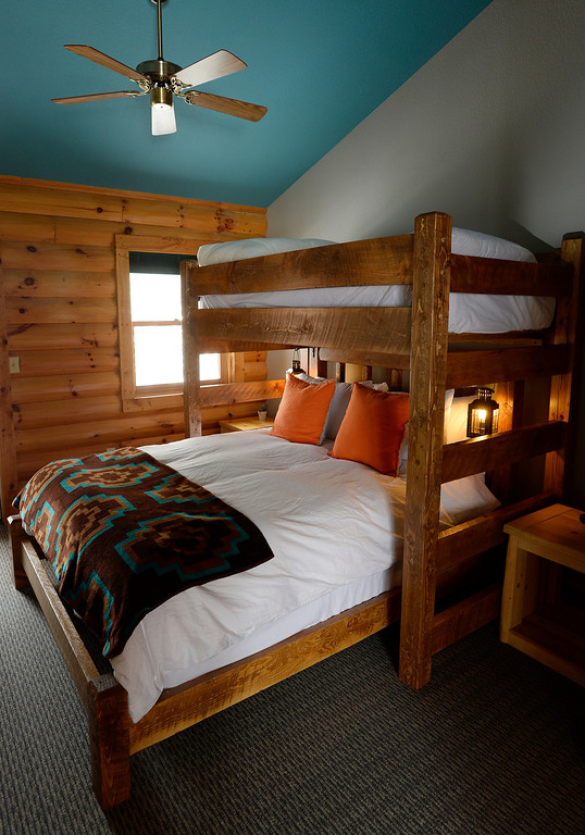 ". One of the private rooms, the ""Super Queen\""  has a customized queen bed with a single bunk bed overhead, enough space for three to sleep comfortably, and a private bathroom. The Bivouac a newly opened hostel in Breckenridge, Colorado on Tuesday, February 11, 2014.   (Denver Post Photo by Cyrus McCrimmon)"