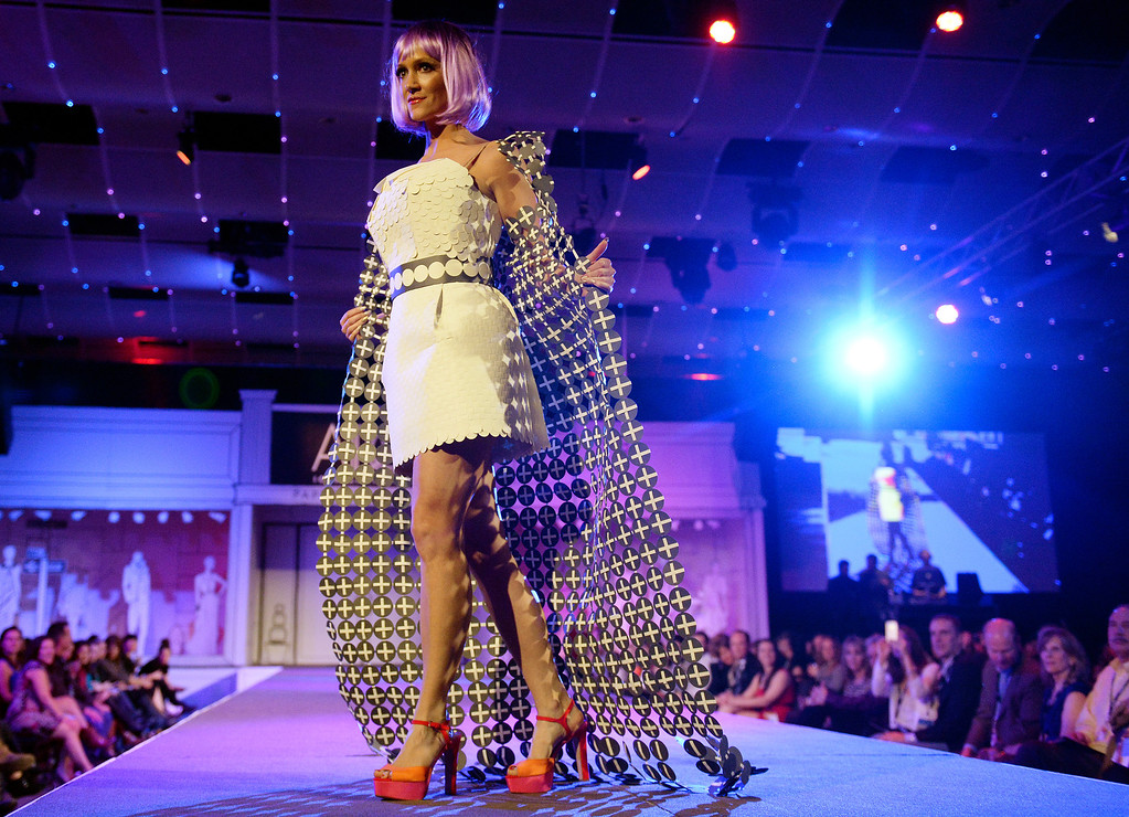 ". DENVER, CO - MARCH 7 : ""Seeing Spots\""  modeled by Brooke Huebner at  the 10th annual  ADCD Paper Fashion Show was held at the Seawell Grand  Ballroom at the Denver Center for Performing Arts on Friday, March 7, 2014. (Denver Post Photo by Cyrus McCrimmon)"