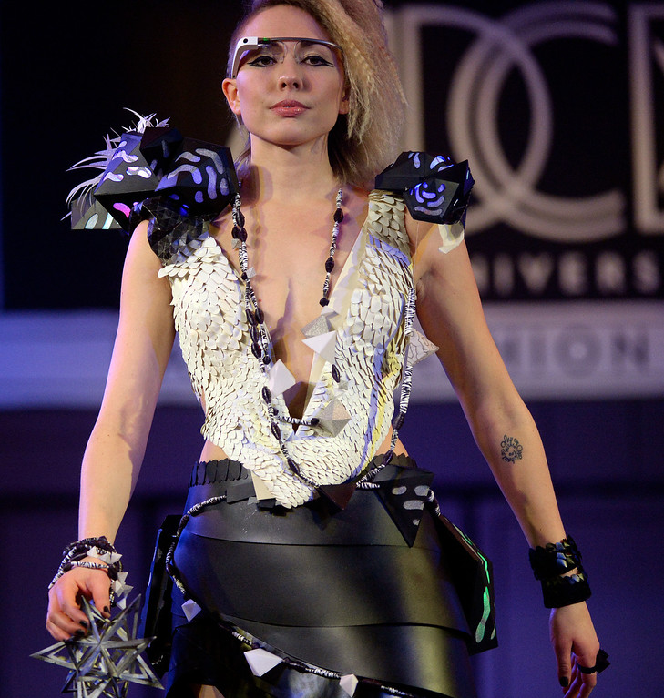 ". DENVER, CO - MARCH 7 :  ""Kida\"" by HighBridge Creative   with model Erica Prather at the 10th annual  Art Directors Club of Denver Paper Fashion Show, which  was held at the Seawell Grand  Ballroom at the Denver Center for Performing Arts on Friday, March 7, 2014. (Denver Post Photo by Cyrus McCrimmon)"