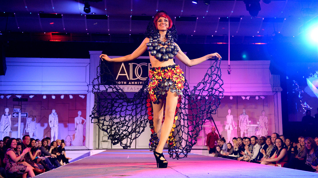 ". DENVER, CO - MARCH 7 :  Dava Favorite winner of the evening ""A-Bomb\"" by Pink Shag Design is modeled by Athena Patacsil at the 10th annual  ADCD Paper Fashion Show which  was held at the Seawell Grand  Ballroom at the Denver Center for Performing Arts on Friday, March 7, 2014. (Denver Post Photo by Cyrus McCrimmon)"