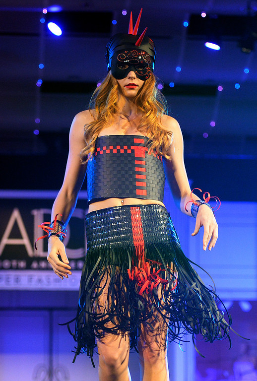 ". DENVER, CO - MARCH 7 :   ""Futuristic Warrior\"" modeled by Alyssa Campbell at  the 10th annual  Art Directors Club of Denver Paper Fashion Show was held at the Seawell Grand  Ballroom at the Denver Center for Performing Arts on Friday, March 7, 2014. (Denver Post Photo by Cyrus McCrimmon)"