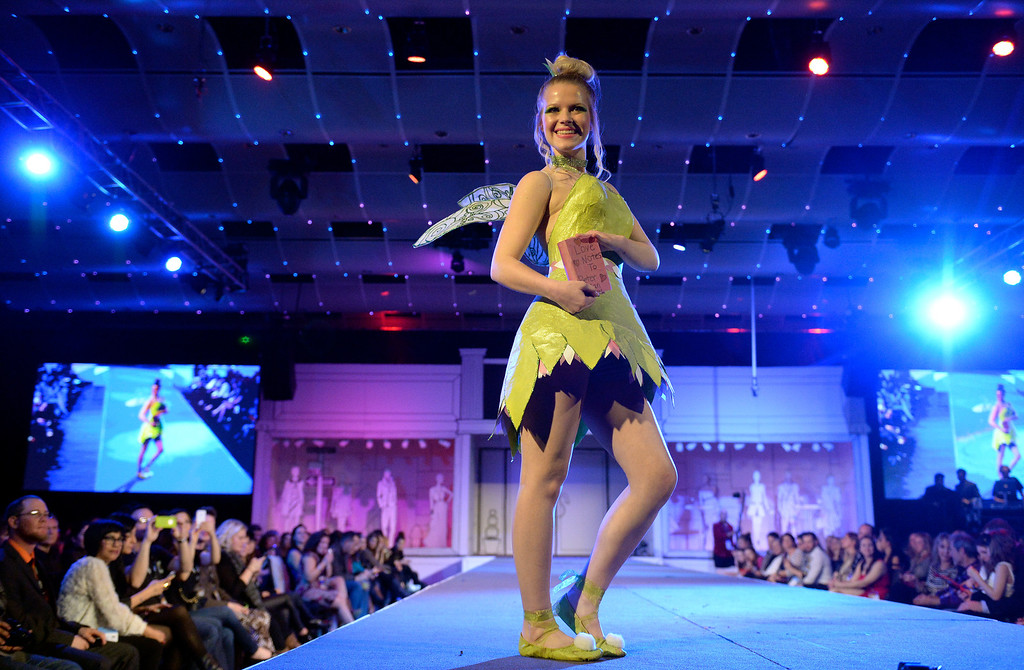 ". DENVER, CO - MARCH 7 : ""Flowering Tinkerbell\"" by Denver School of the Arts with model Kady Turner at    the 10th annual  ADCD Paper Fashion Show which  was held at the Seawell Grand  Ballroom at the Denver Center for Performing Arts on Friday, March 7, 2014. (Denver Post Photo by Cyrus McCrimmon)"
