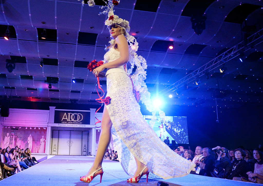 ". DENVER, CO - MARCH 7 :  ""Love Is In The Air\""  design at  the 10th annual  ADCD Paper Fashion Show which  was held at the Seawell Grand  Ballroom at the Denver Center for Performing Arts on Friday, March 7, 2014. (Denver Post Photo by Cyrus McCrimmon)"