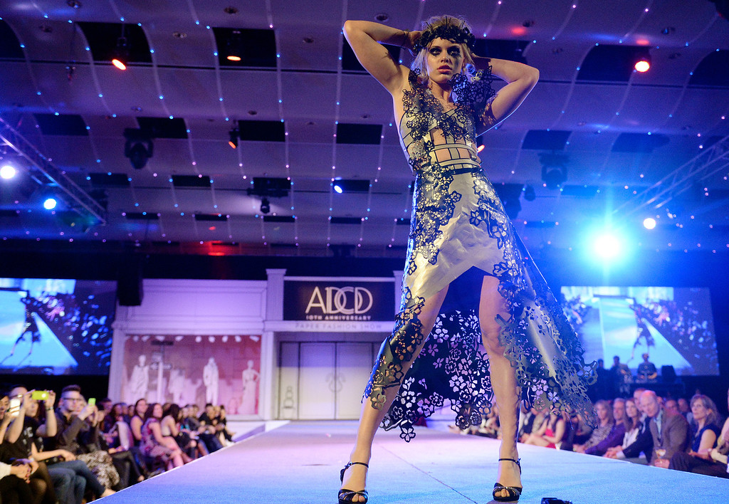 ". DENVER, CO - MARCH 7 :  Korinn Gubbels models ""Decayed Beauty\""  by The Seventh Guilt  at  the 10th annual  ADCD Paper Fashion Show which  was held at the Seawell Grand  Ballroom at the Denver Center for Performing Arts on Friday, March 7, 2014. (Denver Post Photo by Cyrus McCrimmon)"