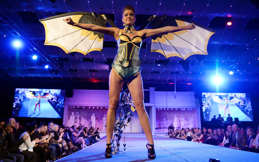 . DENVER, CO - MARCH 7 :  Model Jordan Chappell unfolds her wings  on the runway at the 10th annual  Art Directors Club of Denver Paper Fashion Show which  was held at the Seawell Grand  Ballroom at the Denver Center for Performing Arts on Friday, March 7, 2014. (Denver Post Photo by Cyrus McCrimmon)