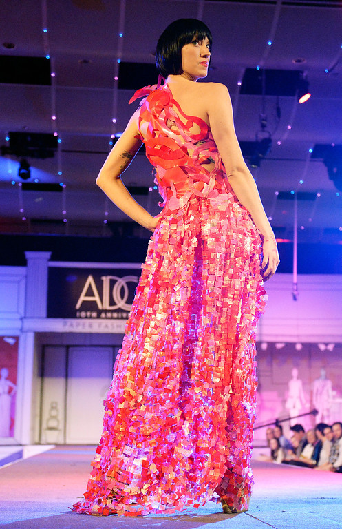 ". DENVER, CO - MARCH 7 :  The ""Red Lotus\"" design  modeled by Elle Ullom  at  the 10th annual  ADCD Paper Fashion Show which  was held at the Seawell Grand  Ballroom at the Denver Center for Performing Arts on Friday, March 7, 2014. (Denver Post Photo by Cyrus McCrimmon)"
