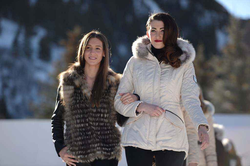 . Lauren Gorski, President of Gorski Gropu Ltd., left, is in Apres Ski Stage of Aspen International Fashion Week 2014. Aspen Colorado. March 14. 2014. (Photo by Hyoung Chang/The Denver Post)