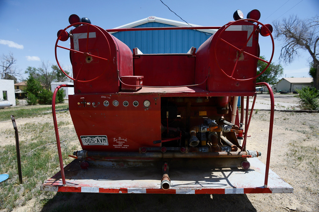 . HASWELL, CO - MAY 29:  The backside of a Haswell fire truck awaiting repairs outside of the towns volunteer fire department in Haswell Colorado, Wednesday May 29, 2013. The Intel Corporation, an American multi-national semiconductor computer chip maker, has codenamed their latest and greatest new chip after the small town of Haswell. (Photo By Andy Cross/The Denver Post)