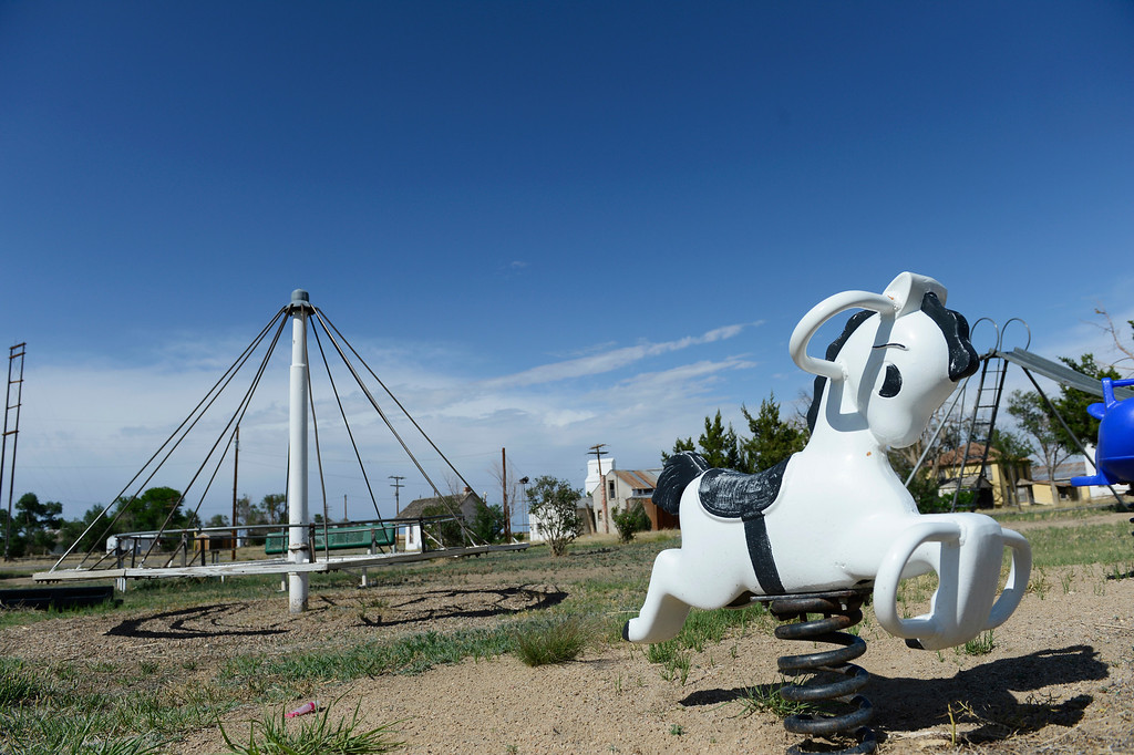 . HASWELL, CO - MAY 29:  Playgound equipment at the town park in Haswell Colorado Wednesday May 29, 2013. The Intel Corporation, an American multi-national semiconductor computer chip maker, has codenamed their latest and greatest new chip after the small town of Haswell.  (Photo By Andy Cross/The Denver Post)
