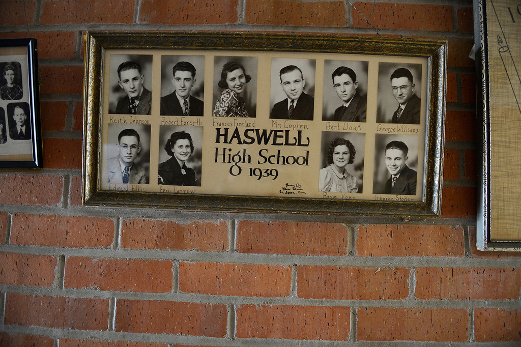 . HASWELL, CO - MAY 29:  Haswell High School senior pictures, class of 1939, right, along with many other classes,  hang in the hallway of the old Haswell Elementary School in Haswell Colorado Wednesday May 29, 2013. The Intel Corporation, an American multi-national semiconductor computer chip maker, has codenamed their latest and greatest new chip after the small town of Haswell. The school is now used as the town\'s community center. (Photo By Andy Cross/The Denver Post)