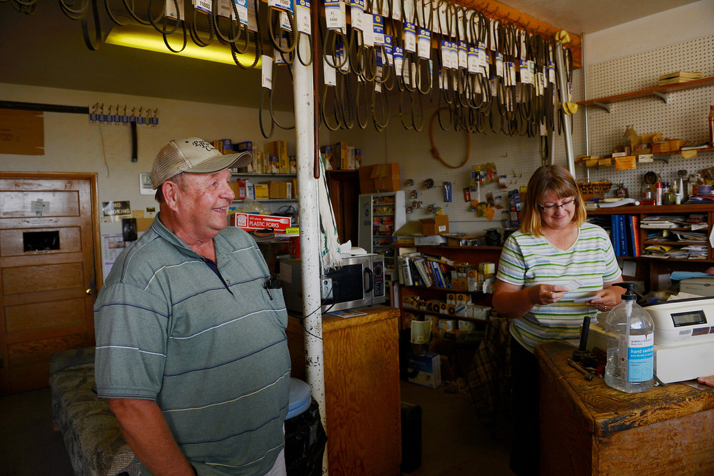 . HASWELL, CO - MAY 29:  Haswell Colorado resident, Scott Briggs, left, has a laugh with Glenda Stoker, owner of the Haswell Propane and Fuel store Wednesday May 29, 2013. The Intel Corporation, an American multi-national semiconductor computer chip maker, has codenamed their latest and greatest new chip after the small town of Haswell. The store serves as a town gathering place and doubles as a antique shop too. Local customers pay up on a stack of IOU\'s at the end of the month. (Photo By Andy Cross/The Denver Post)
