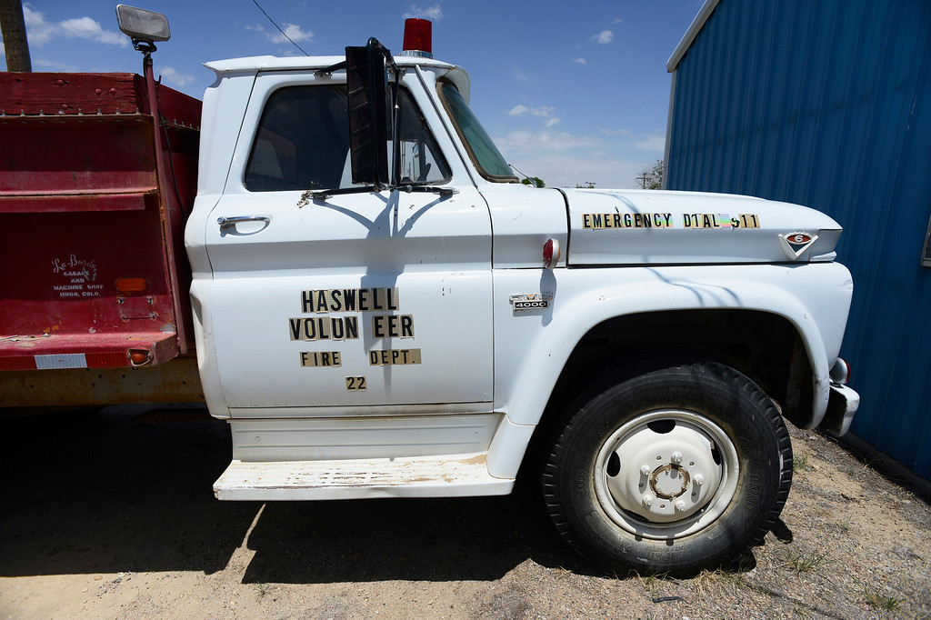 . HASWELL, CO - MAY 29:  A Haswell fire truck awaiting repairs outside of the towns volunteer fire department in Haswell Colorado, Wednesday May 29, 2013. The Intel Corporation, an American multi-national semiconductor computer chip maker, has codenamed their latest and greatest new chip after the small town of Haswell. (Photo By Andy Cross/The Denver Post)
