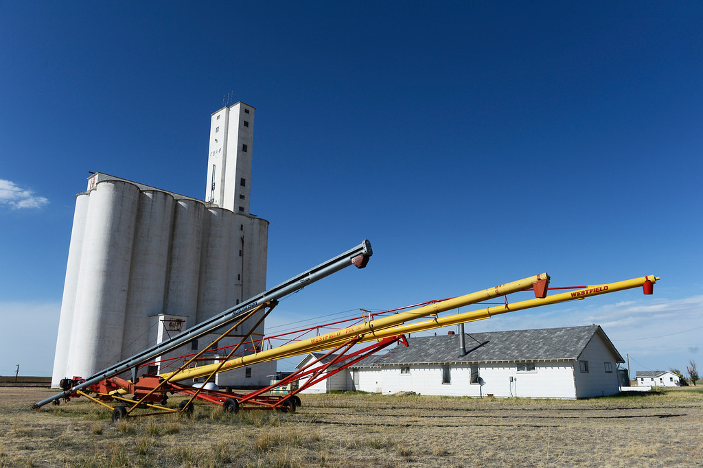 . HASWELL, CO - MAY 29: Haswell Colorado grain elevator and augers in Haswell Colorado Wednesday May 29, 2013. The Intel Corporation, an American multi-national semiconductor computer chip maker, has codenamed their latest and greatest new chip after the small town of Haswell.  (Photo By Andy Cross/The Denver Post)
